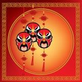 Máscara chinesa da ópera no fundo vermelho do teste padrão ilustração royalty free