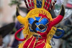 Máscara colorida del indigenoius en Ecuador Imágenes de archivo libres de regalías