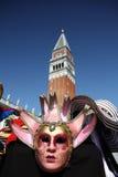 Máscara cor-de-rosa em Veneza Fotografia de Stock