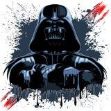 Máscara de Darth Vader em manchas escuras da pintura ilustração stock