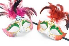 Máscara de dos carnavales con las plumas y el diamante imágenes de archivo libres de regalías