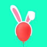 Máscara de los oídos de conejo en baloon rojo Imagen de archivo libre de regalías