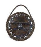 Máscara de madeira do sol A decoração na parede Imagem de Stock Royalty Free
