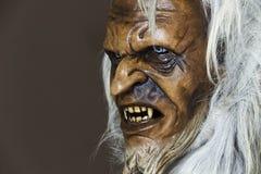 Máscara de madeira satânica do companheiro São Nicolau Fotografia de Stock