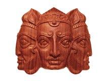 Máscara de madera de Trimurti Imágenes de archivo libres de regalías