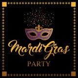 Máscara de Mardi Gras, cartel colorido, plantilla Imagenes de archivo