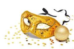 Máscara de oro del carnaval fotos de archivo
