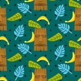 Máscara de Tiki e teste padrão sem emenda do vetor das folhas de palmeira Imagem de Stock