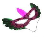 Máscara de Víspera de Todos los Santos con las plumas aisladas en blanco Imagenes de archivo