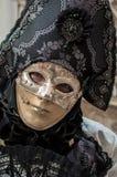 Máscara de Veneza do preto do cinza de prata imagens de stock