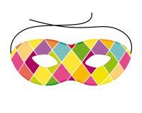 Máscara del arlequín del carnaval Icono colorido y alegre stock de ilustración