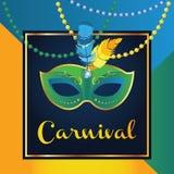 Máscara del carnaval con las plumas Diseño de concepto hermoso con las letras para la tarjeta de felicitación, la invitación del  ilustración del vector