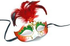 Máscara del carnaval con las plumas y el diamante Fotografía de archivo