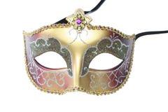 Máscara del carnaval - de oro aislada Imagen de archivo
