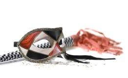 Máscara del carnaval en blanco con el claxon Imagenes de archivo