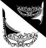 Máscara del carnaval y diseño venecianos del vector del barco de la góndola stock de ilustración