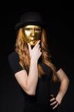 Máscara del iwith de la mujer del pelirrojo Imágenes de archivo libres de regalías