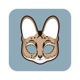 Máscara del Serval para las diversas festividades, partidos ilustración del vector