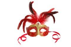 Máscara do carnaval com as penas no branco Fotografia de Stock