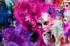 Máscara do carnaval com penas coloridas Fotos de Stock Royalty Free