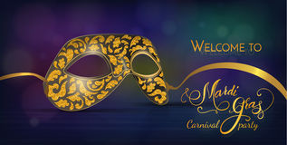 Máscara do carnaval com textura brilhante do brilho Fundo das luzes e dos fogos-de-artifício de Bokeh Molde do cartão do convite Fotos de Stock Royalty Free