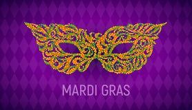 Máscara do carnaval de Mardi Gras no fundo roxo Fotografia de Stock Royalty Free