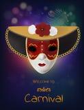 Máscara do carnaval do vetor com flores e penas Convite ao carnaval com fundo brilhante colorido e máscara vermelha venetian Imagens de Stock