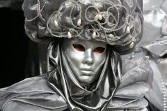 Máscara do carnaval: fim da prata Fotografia de Stock