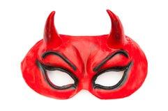 Máscara do diabo isolada no branco fotografia de stock