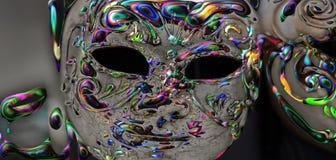 A m?scara do metal, e os olhos do medo ilustração do vetor