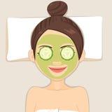 Máscara do pepino da beleza ilustração royalty free