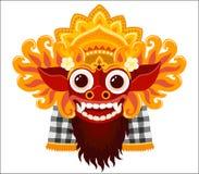 Máscara do vetor do deus do balinese de Barong no estilo dos desenhos animados isolada no fundo branco Fotos de Stock Royalty Free