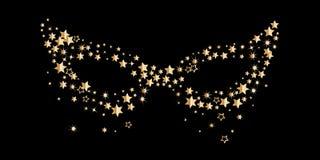 Máscara dourada do carnaval isolada no fundo preto Máscara isolada Bola de vestido de fantasia simbol do disfarce e do carnaval Imagem de Stock