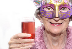 Máscara e bebida do partido Fotos de Stock