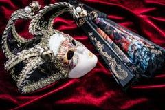 Máscara e fã do carnaval Foto de Stock