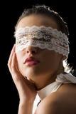 Máscara e laço branco foto de stock