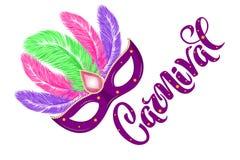Máscara exhausta del carnaval de la mano del vector con las plumas y carnaval el poner letras para el Brasil carnaval, Mardi Gras stock de ilustración