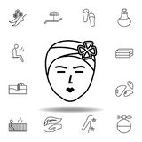 máscara facial com ícone do esboço das flores Grupo detalhado de termas e para relaxar o ícone das ilustrações Pode ser usado par ilustração do vetor