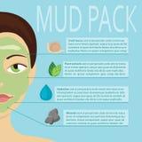 A máscara facial cosmética na menina com ingredientes diferentes vector a ilustração ilustração royalty free