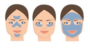 Máscara facial da argila azul fêmea para cuidados com a pele cosméticos Mulher dos termas que aplica o ícone de limpeza facial da ilustração royalty free