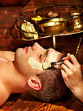 Máscara facial da argila em termas da beleza Fotografia de Stock