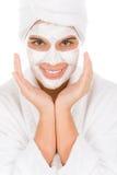 Máscara facial del adolescente - mujer feliz Imagen de archivo