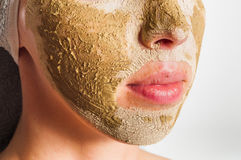 Máscara facial del verde de la máscara Imagenes de archivo