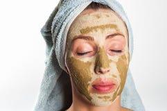 Máscara facial do verde da máscara Fotos de Stock Royalty Free