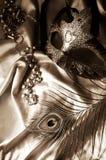 Máscara, granos y pluma de la mascarada Foto de archivo libre de regalías