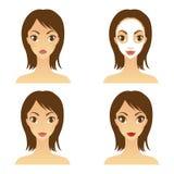 Máscara hermosa de la muchacha con la precipitación y el maquillaje Imagenes de archivo