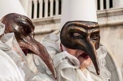 Máscara longa marrom branca de Veneza do nariz Fotografia de Stock