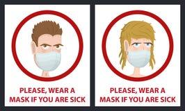Máscara médica do desgaste do homem e de mulher Máscara da higiene Proteção do vírus Fotografia de Stock Royalty Free