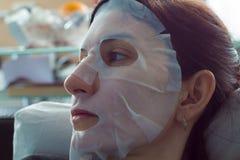 Máscara natural de la perla de la cara de la hoja Fotos de archivo
