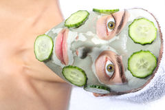 Máscara natural del pepino Fotografía de archivo